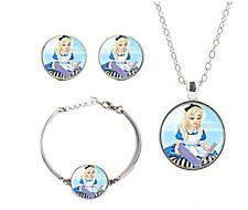 Alice in Wonderland Glass Domed Pendant Necklace Earrings Bracelet Jewelry Set