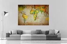 CARTE DU MONDE WORLD MAP Wall Art Poster Grand format A0 Large Print