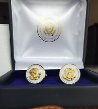 CUFF LINKS V VIP RARE 24 K GOLD PLATED WHITE COBALT VICE PRESIDENT MIKE PENCE