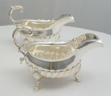 More details for pair antique english georgian sterling silver sauce boats, london 1774, 461g.