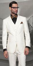 Men Ivory(Cream) Slim Fit Suit Grooms Tuxedo Wedding Party Wear Coat+Pant+Vest