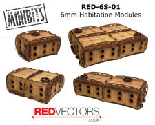 RED-6S-01 - 6mm Wargames - Sci-Fi Habitation Modules (4 buildings)