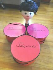 Vintage Schiaparelli Hat & Hat Box Lot / 3 Hat Boxes Round Pink Very Good Con