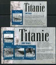 Palau 2012 titanic ship Navi bateaux catástrofe frase + bloque post frescos mnh