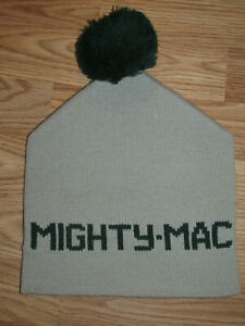 Vintage NOS MIGHTY MAC Mate 100% Pure Wool WINTER HAT Cap Pom Pom Beanie USA