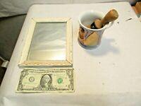 "vintage Shaving Brush, Shaving Mug & Wood Framed 8""x6"" Mirror in good used shape"