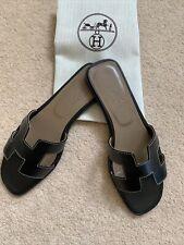 Hermes Icon Authentic Oran Sandal Black Size EU 39 , Uk 6
