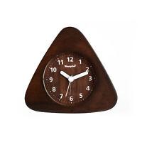 Non Ticking Analog Quartz Alarm Clock with Nightlight Natural Wood Triangle