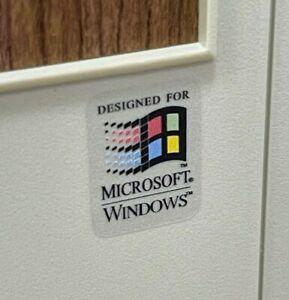 Windows 95 98 3.11 WFWG CLEAR Custom Vintage Computer Case Badge Sticker Retro