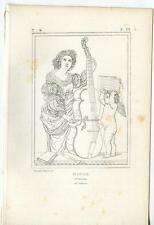ANTIQUE SAINT CECILE CECILIA  ANGEL CHERUB CELLO ECCLESIASTICAL ENGRAVNG PRINT