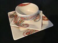 (3) PIECE SET TABLETOPS GALLERY MULTI PAISLEY Dinnerware EUC