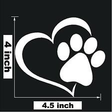 "4"" x 4.5"" Paw Print With Heart Dog Cat Vinyl Decal Car Window"