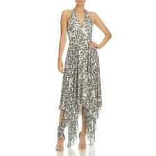 Halston Heritage Womens Metallic Animal Print Maxi Halter Dress BHFO 8061