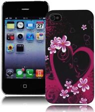 Lovley Hot Pink Hearts&Flowers Design Hard Silicone Snap-On Case For iPhone 4,4S