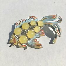 Large Antique Fish Art Deco Yellow Glass Moonstone Pot Metal Enamel Brooch Pin