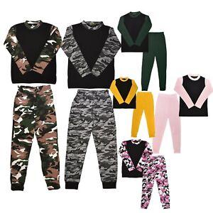 Kids Girls Boys PJs Plain Color NIGHTWEAR Night Pajamas Set Sleeping Suit 5-13