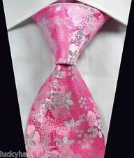 New Classic Florals Pink Silver JACQUARD WOVEN 100% Silk Men's Tie Necktie