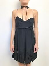 HUSSY beaded cutout hem shoe string strap silk empire waist slip dress SZ 10