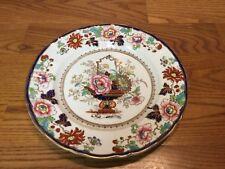 "Atq. Masons Ironstone China Ashworth 10 1/4"" Plate Cobalt Blue Red Green Gold"
