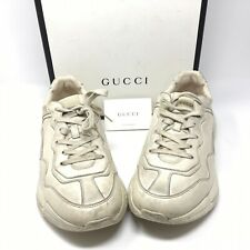 GUCCI 740$ Ivory Rhyton Sneakers In Vintage Distressed Leather