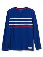 New-Size XS(4-5 Years-old)-GAP-Boys Slub Tee-Contrast Stripes-Long Sleeve-Blue