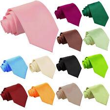 Mens Skinny Corbata Delgada Estrecho Boda Formal Hombres Color Sólido Corbata