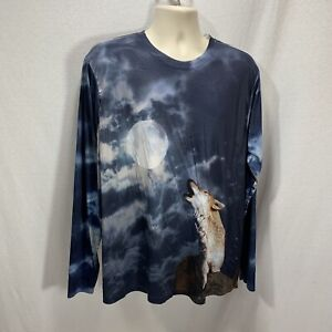 Get A Life All Over Print Long Sleeve Shirt Wolf Howling At Moon XL Blue Stretch