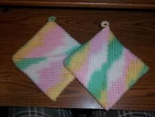 New listing Pink, green, yellow and white hand crocheted potholders. Set of 2!