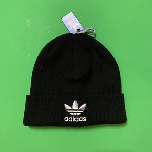 ADIDAS Originals White Large Trefoil Logo Mens Beanie Hat Black Embroidered New