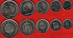 ✔ Venezuela set coins 25 50 centimo 1 2 5 bolivar 1989-1990 Simon Bolivar
