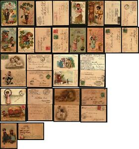 Stunning lot of 17 Lithograph fancy postcards most embossed children new year