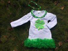 Girls St Patricks Day outfit , st pattys dress, 3 pc set,chunky bead, bow 12-18m