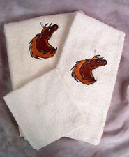 Bath Towel Set - Embroidered Brown Unicorn Head Cream Bath Wash Hand Bath