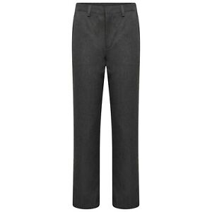 Boys Grey Navy School Trousers Straight Leg Uniform Back Elasticated Waist