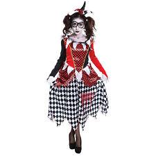 Mujer Harlequin Chica Payaso Malvado Fancy Dress Costume