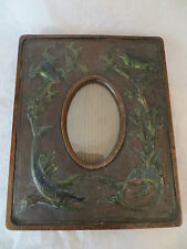 Antique Wooden Leather Embossed Picture Frame 1880's Frogs Fish - Unique Rare!