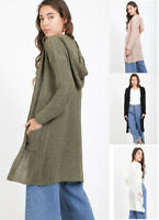 S-L Women's Knee Length Cardigan Open Boho Knit Hoodie Sweater Long Sleeves