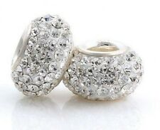 Clear Sparkling Crystal, 925 Sterling Silver Single Core European Charm Bead