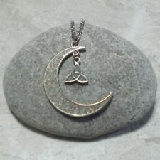 Glow In The Dark Crescent Moon And Triquetra Pendant Necklace Jewelry