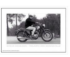 Steve McQueen On His Triumph 650 Bonneville Motorcycle 2 Finger Salute  Poster