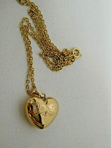 VINTAGE 9CT 375 GOLD HEART PUFF PENDANT ON CHAIN  - ESTATE