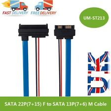 SATA 5V Cable Serial ATA 22 Pin 7+15 Female To Slimline SATA 13 Pin 7+6 Male UK