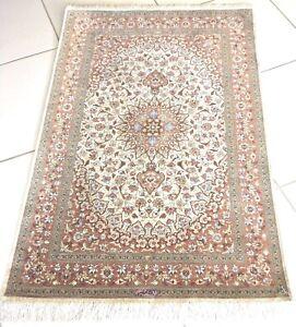 Perserteppich Ghom Seide Teppich Meisterstück Handgeknüpft Beige Qom Silk Rug