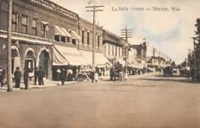 BARRON, WI La Salle Street Scene Wisconsin ca 1910s Vintage Postcard