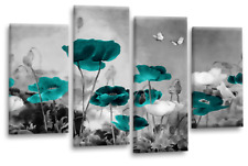 Floral Chinese Wall Art Grey White Teal Flower Poppy Canvas Split Picture