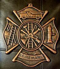 FIREMAN Fire House Embossed Cast Iron Metal Shield Cross Plaque Truck ManCave