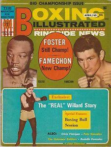 BOXING ILLUSTRATED MAGAZINE BOB FOSTER-JOHNNY FAMECHON-JESS WILLARD APRIL 1969
