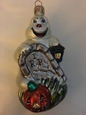 Christopher Radko Fright D'Light Halloween Ghost RIP Tombstone Glass Ornament