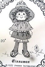 "Vtg 80s Cinnamon Scrap doll country rag doll 20"" Craft Pattern Scrimpsher"