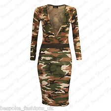 Ladies Womens Camouflage Army Wrap Over Bodysuit & Pencil Skirt 2 Piece Set 8-14